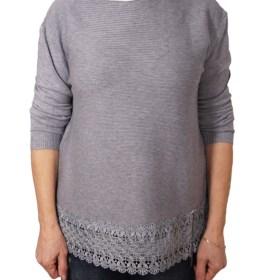 Дамски пуловер 2-386-24 цвят сив