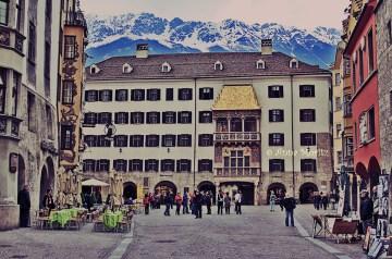 Dusk falling upon the Golden Roof , Innsbruck