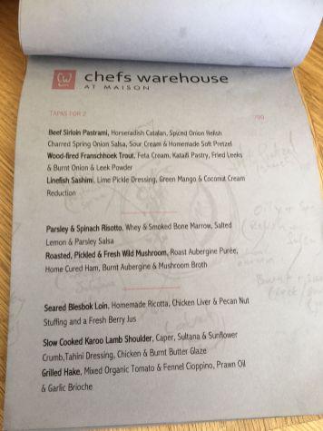 Treasuring experiences restaurant menus