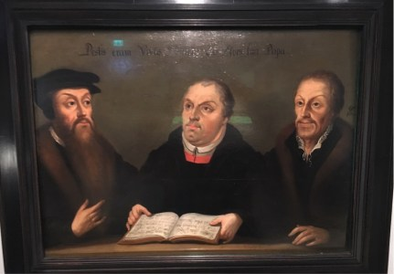 Calvin-Luther-Melanchthon, painter unknown. Luther and Calvin did not in fact meet, but Melanchthon and Calvin did.