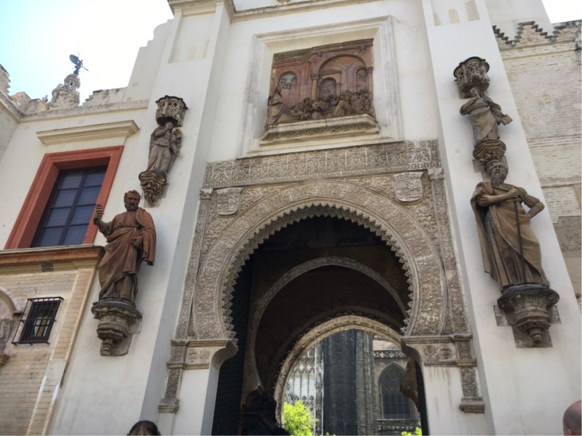 Saville Cathedral - the exit door from the Orange Grove showing the pre-middle ages Moorish influence