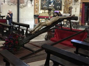 Church of St Anthony of Padua - Christ on the Cross in recline in the period before Easter.