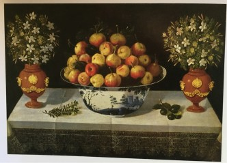 Tomas Hiepes, Delft Fruit Bowl and Two Vases of Flowers, 1642.
