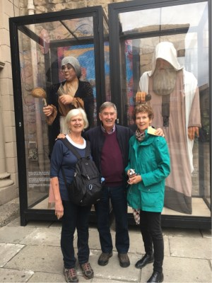 Annie, Ken and Joelie with traditional giant Procession figures
