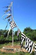 Black & White Stripe Flags by Robin Wilt (flagpole 25' tall)