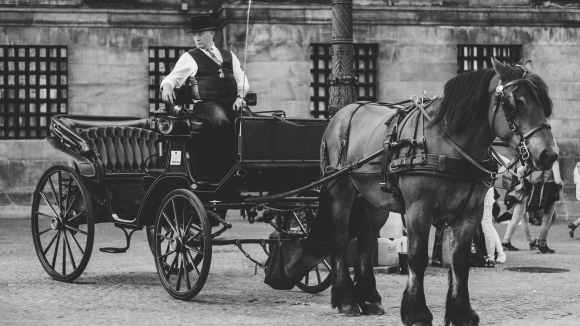 monochrome photo of man in carriage