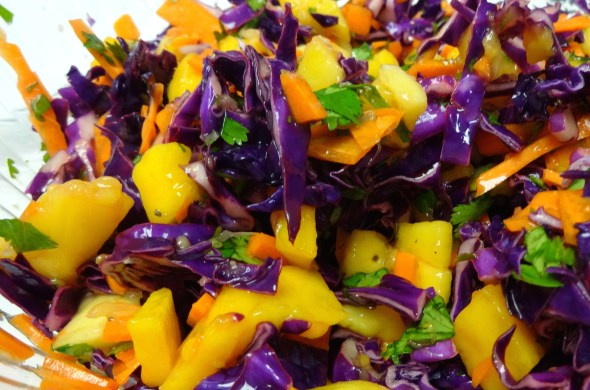 Red Cabbage and Mango Slaw