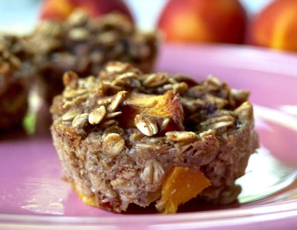 Fresh Peach Oatmeal Muffins