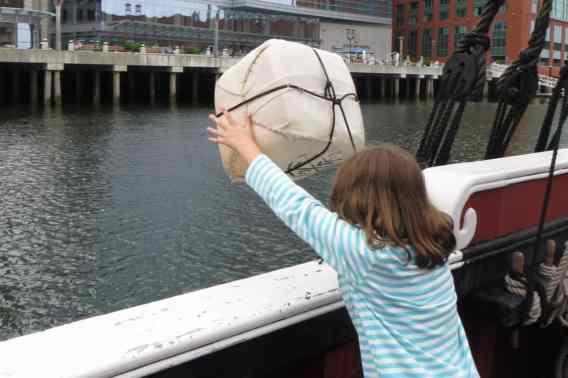 Boston Trip Report - Boston Tea Party Ship - Throwing Tea in Harbor