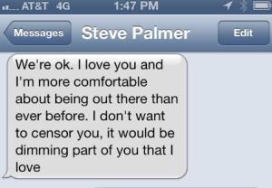 Steve's text
