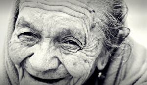 Old woman loves life
