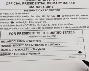 A friend votes for Bernie.