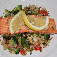 Baked Salmon with Quinoa and Vegetable Stir-fry