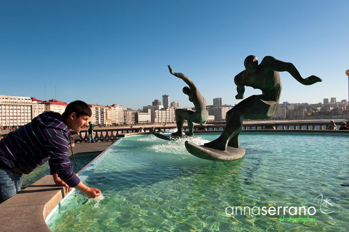 A Coruña - Galicia - Spain - Orzán Bay - Surfers Fountain