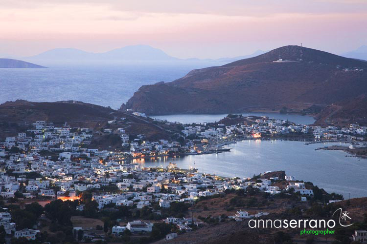 Greece, Greek Islands, Dodecanese, Patmos, panoramic over Skala