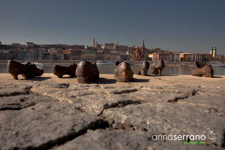 Hungary, Budapest, Shoes on the Danube Bank in the Danube Promenade Memorial
