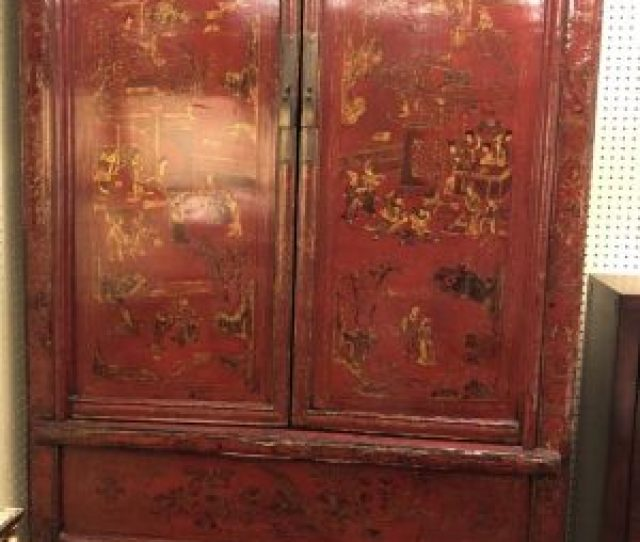 Annas Mostly Mahogany Consignment Red And Black Chinoiserie Cabinet With Two Storage Shelves