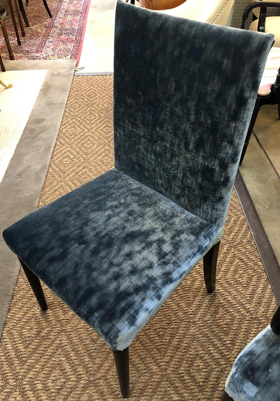 Set Of 8 Modern Blue Velvet Dining Chairs Antique And