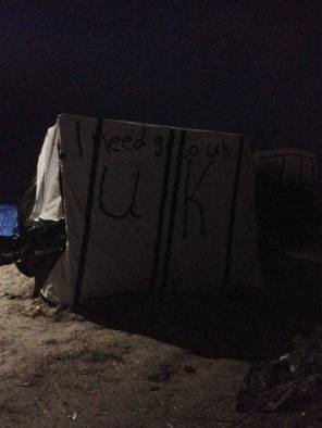 Calais camp - lots of tents have these kinds of messages written on them