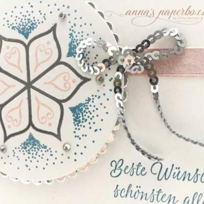 Hochzeitskarte mit Stampin Up Produkten - Eastern Beauty - Schönheit des Orients - Puderrosa - Ozeanblau - Silber