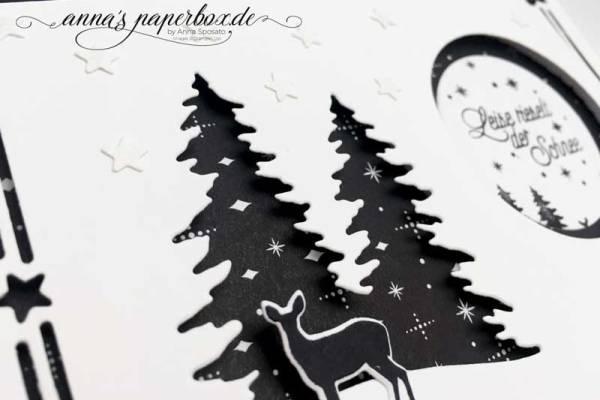 Schwarz-Weiße Weihnachtskarte mit Produkten von Stampin Up - Wie ein Weihnachtslied - Weihnachtliche Etiketten -