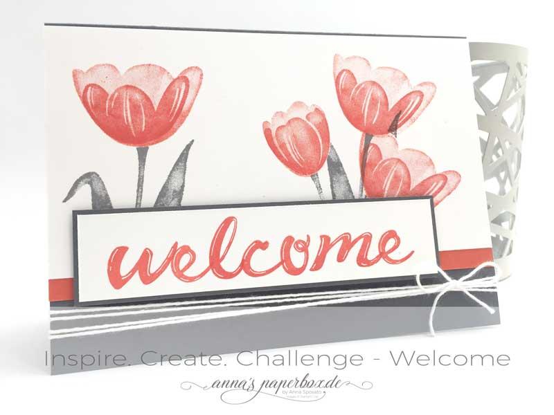 Inspire. Create. Challenge Karte mit Produkten von Stampin Up. Tranquil Tulips, Hand Lettered Alphabet