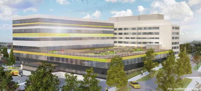 Nya Södertälje sjukhus. Bild: Grontmij Arkitektur