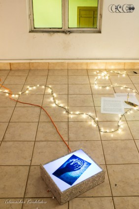 CIRCE The Black Cut 2015 @ aeaea space [port a] Spiral Photo by Tilemachos Kouklakis / Text on floor by Katerina Iliopoulou | image taken by Tilemachos Kouklakis©