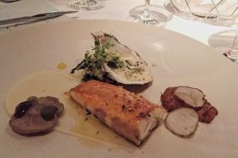 Seabass, Oyster Bearnaise, Sea-Cabbage, Sushokes, Mushroom, Seaweed