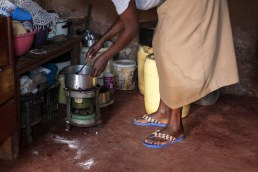 Every day I cook for the children, my own and my two sisters', when they are hungry they will come and eat...