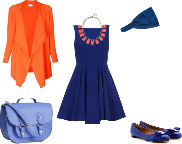 How to orange and blue by annaturcato featuring a purse shoulder bag
