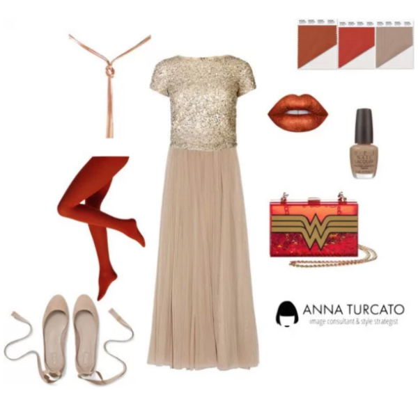 Warm Taupe, Aurora Red and Potter's Clay by annaturcato featuring special occasion jewelry