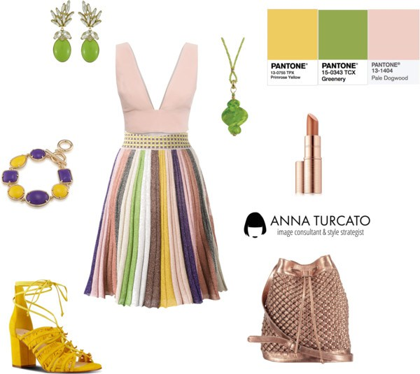 Greenery, Primrose Yellow, Pale Dogwood di annaturcato contenente drop earrings