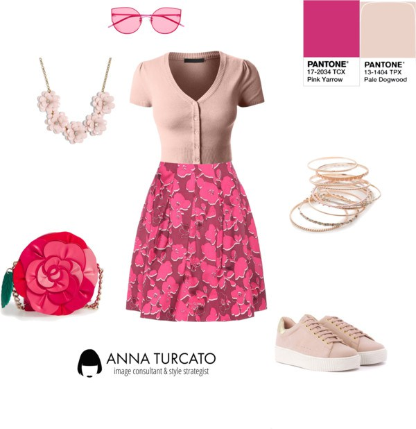 Pink Yarrow and Pale Dogwood by annaturcato featuring a knit top