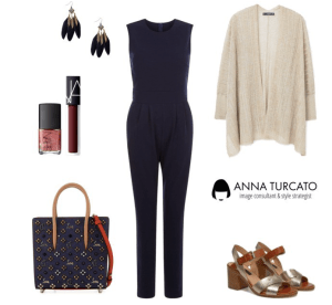 The jumpsuit look by annaturcato featuring a navy blue jumpsuit