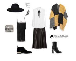 Poncho with pleated skirt di annaturcato contenente chunky jewellery