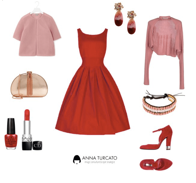 The red dress di annaturcato contenente evening handbags