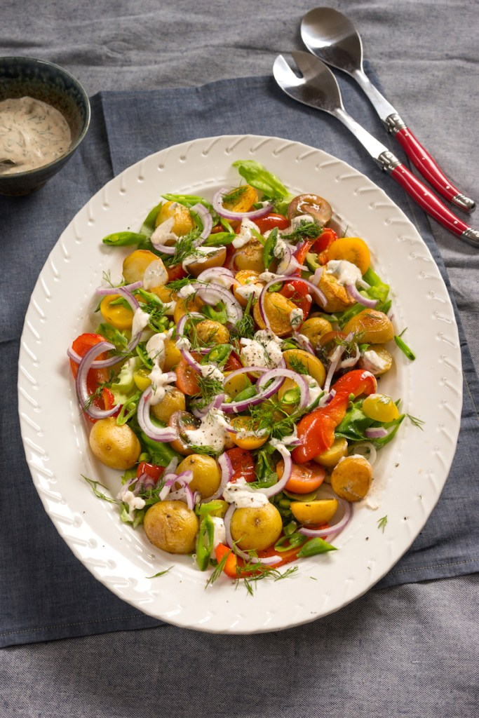 Modern Garden Salad with Homemade Ranch Dressing