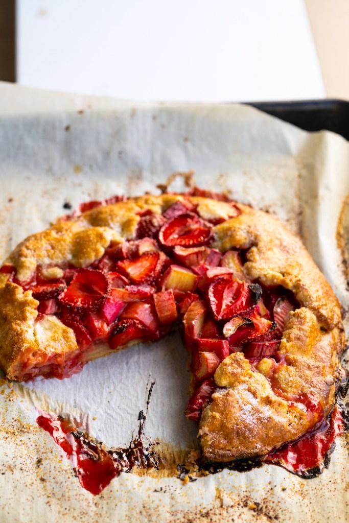 Strawberry-Rhubarb Galette with Buckwheat Crust