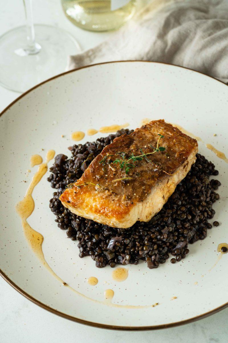 Pan-Roasted Sturgeon with Black Caviar Lentil