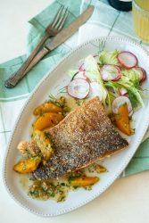 Buckwheat crusted salmon