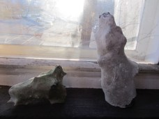 Playing around with the stones: Voluptuous woman and her avantgarde dog. For example.