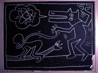 Keith Haring, Subway Drawing, 1982, picture not taken by me.
