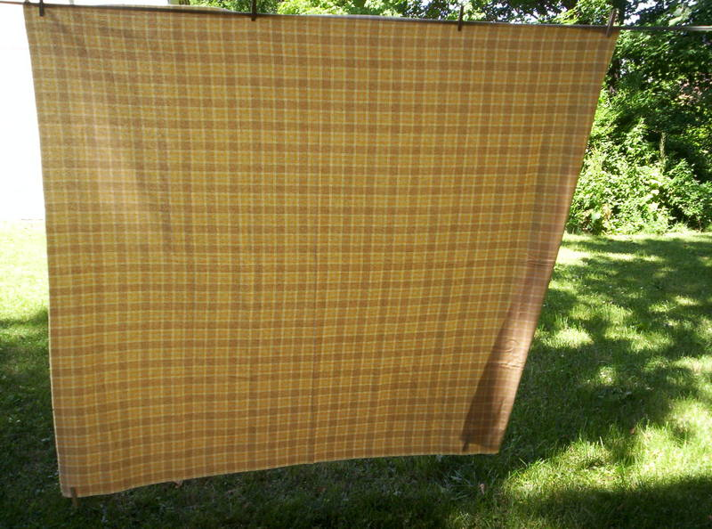 Golden yellow plaid shawl with detail