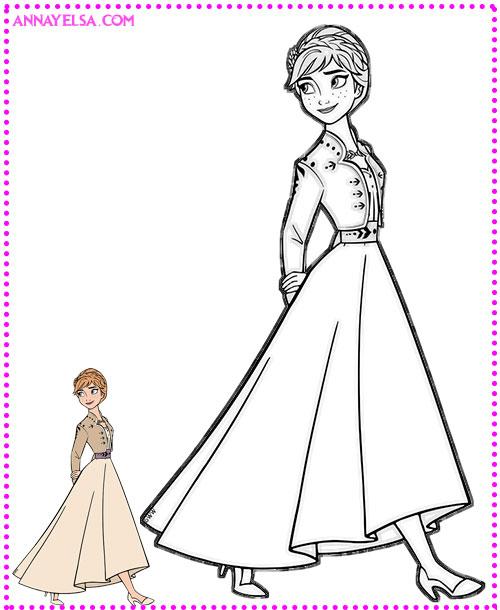 Anna Frozen para colorear