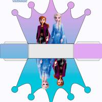 Caja de Frozen con forma de Corona, para imprimir y armar