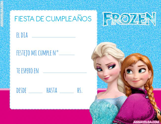 Tarjetas Cumpleanos Elsa y Anna Frozen