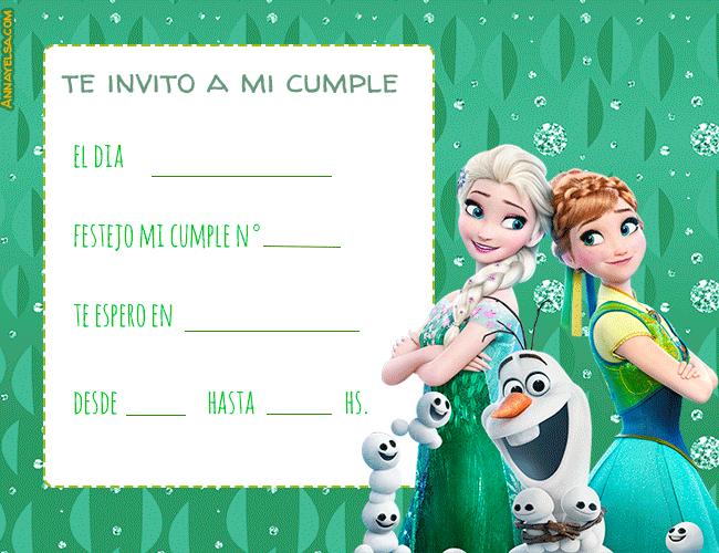 Elsa y Anna tarjetas invitaciones