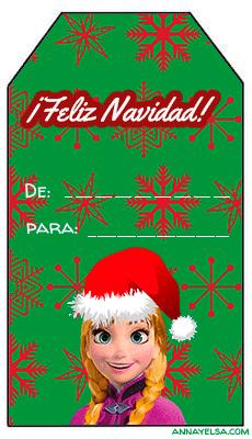 Tarjetitas regalo Frozen navidad
