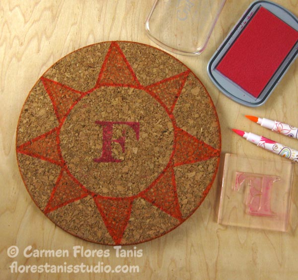 Crafters-Ink-and-EZ-De's-Stamps-Monogramed-Cork-Trivet-Ann-Butler-Carmen-Flores-Tanis-2